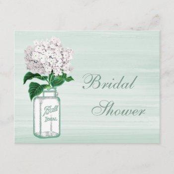 mason jar & hydrangea rustic mint bridal shower invitation