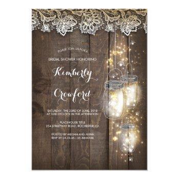 mason jar lights and lace rustic bridal shower invitation