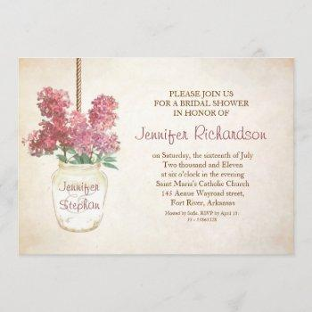 mason jar & pink lilacs bridal shower invitation