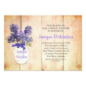 mason jar & purple lilacs bridal shower invites