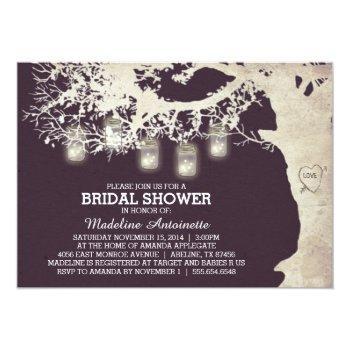 mason jar string light bridal shower plum invitation