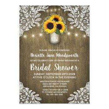 mason jar sunflower bridal shower invitations