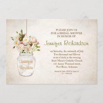 mason jar & white roses bridal shower invitation