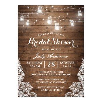 Mason Jars Lights Rustic Wood Lace Bridal Shower Invitation Front View