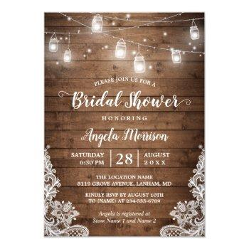 mason jars string lights rustic lace bridal shower invitation
