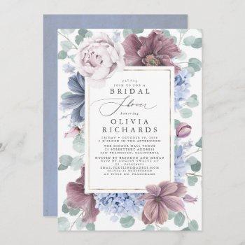 mauve and dusty blue flowers elegant bridal shower invitation