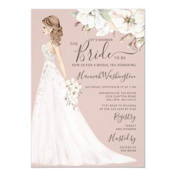 mauve magnolia bride in glitter gown bridal tea invitation