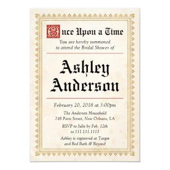 medieval renaissance bridal shower invitation