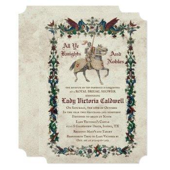 medieval renaissance bridal shower invitation