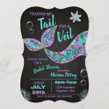 mermaid  bridal shower invitation, glitter chalk invitation