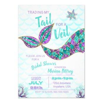 mermaid  bridal shower invitation, glitter invitation
