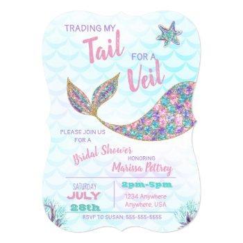 mermaid  bridal shower invitation, glitter pastel invitation