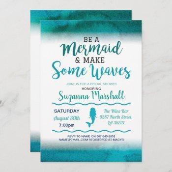 mermaid bridal shower invite teal bachelorette