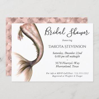 mermaid glam bridal shower | copper rose gold invitation