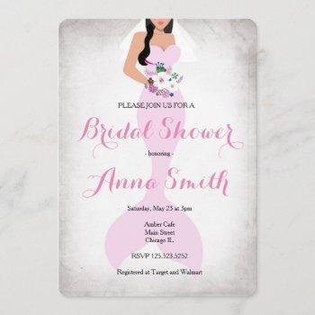 mermaid pink vintage bridal shower invite pink