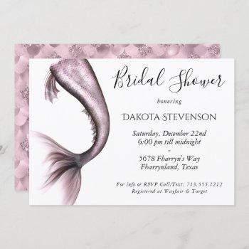 mermaid rosy bridal shower | dusty mauve pink invitation