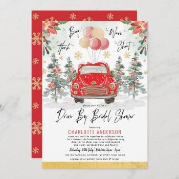 merry red green gold winter drive by bridal shower invitation