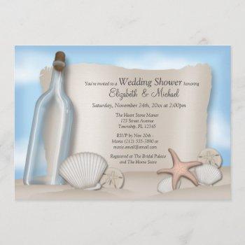 message bottle couple's beach bridal shower invitation