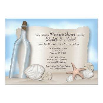 message bottle couple's beach bridal shower invitation