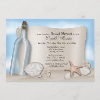 message from a bottle beach bridal shower invitation