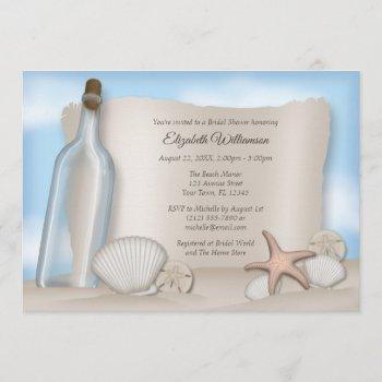 message from a bottle beach bridal shower invites