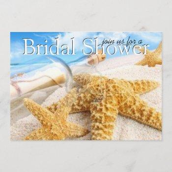 message in a bottle bridal shower invitations