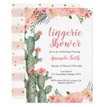 mexican cactus floral lingerie shower invitation