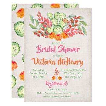 mexican fiesta bridal shower watercolor cactus invitation
