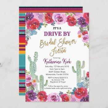 mexican fiesta drive by bridal shower invitation