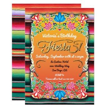 mexican fiesta party gold glitter invitation