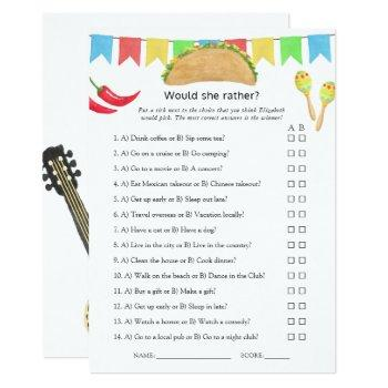 mexican fiesta taco bridal shower game invitation