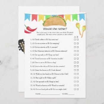 mexican fiesta taco bridal shower game invitation