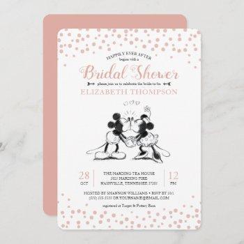 mickey & minnie | pink confetti bridal shower invitation