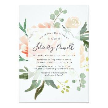 Midsummer Floral Bridal Shower Invitation Front View