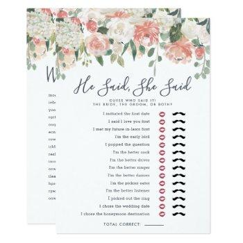 midsummer floral double-sided bridal shower game invitation