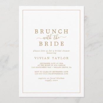 minimal gold brunch with the bride bridal shower invitation