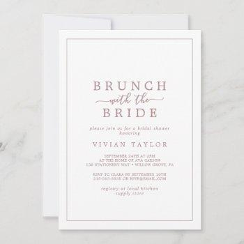 minimal rose gold brunch with bride bridal shower invitation