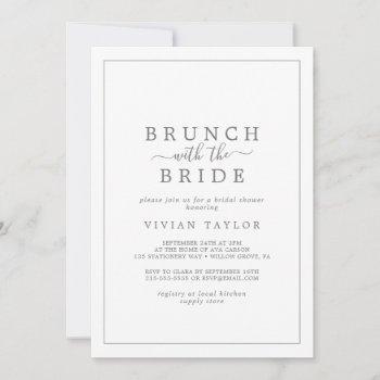 minimal silver brunch with the bride bridal shower invitation