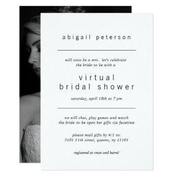 minimalist black white photo virtual bridal shower invitation