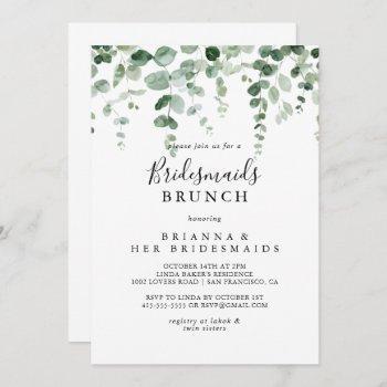 minimalist eucalyptus bridesmaids brunch shower  invitation