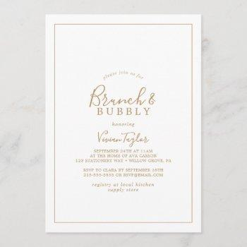 minimalist gold brunch and bubbly bridal shower invitation