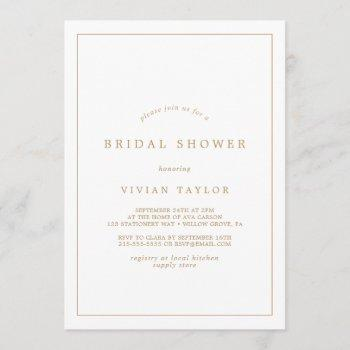 minimalist gold typography bridal shower invitation