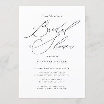 minimalist modern calligraphy bridal shower invitation