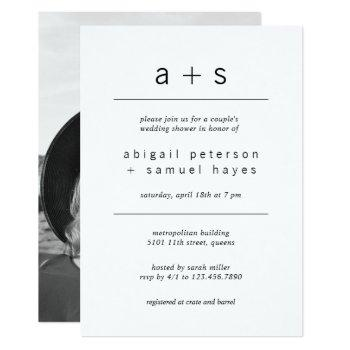 minimalist monogram photo couples wedding shower invitation