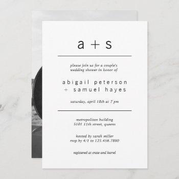 minimalist monogram photo couples wedding shower invitation