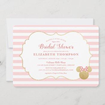 minnie mouse | gold & pink striped bridal shower invitation