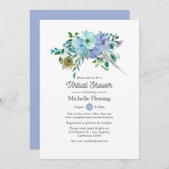 mint and blue boho virtual bridal or baby shower invitation