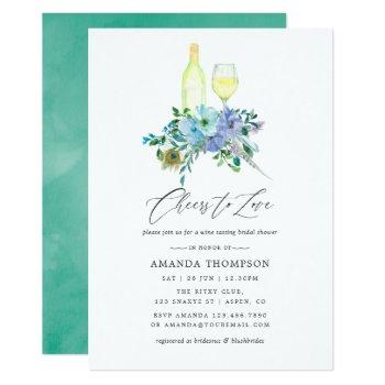 mint and blue boho wine tasting bridal shower invitation