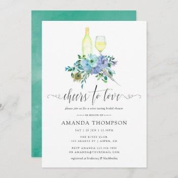 mint and blue boho wine tasting bridal shower invitation