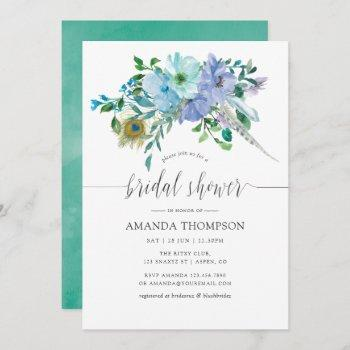 mint and blue watercolor boho floral bridal shower invitation